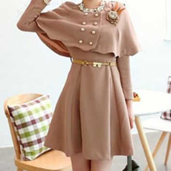 Chocolate Long Sleeves Mini Dress
