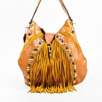 "Gucci Cognac Brown Tan Leather Fringe Studded Large ""Babouska"" Hobo Bag"