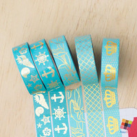 Teal Collection 2 - Gold Foiled 10m Washitape