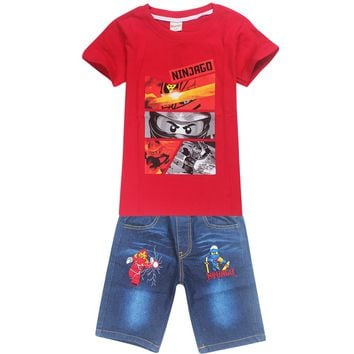 Children Ninjago Clothing Sets Costumes For Boys Clothes Summer Toddler T-shirt+Jeans For Sport Suits Wear 3-10 Year Kid Clothes