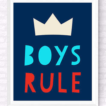 Boys Rule Printable Typographic Poster, Colorful Nursery Print, Boys Room Funny Quote, Kids Room Print, Navy Blue Wall Decor