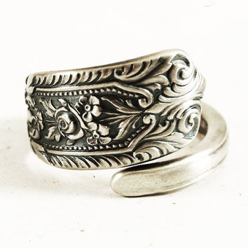 Spoon Ring Small Victorian Rose Ring, Westmorland Sterling Silver, Milburn Rose Spoon Pattern, Handmade Gift, Customized Ring Size (5427)