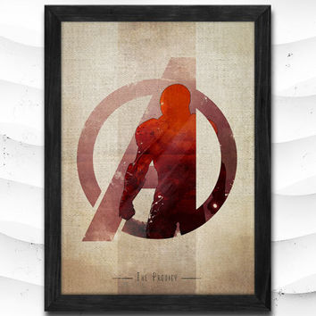 Iron Man Watercolor Print Avengers Poster Art Print Baby Room Illustrations Room Super Hero Nursery Kids Room Gift Linen Poster CAP75