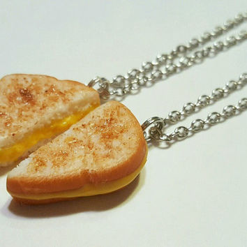 Grilled Cheese Best Friends Halves Necklaces, Polymer Clay Food Jewelry, BFF