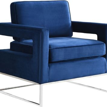 Noah Navy Velvet Accent Chair