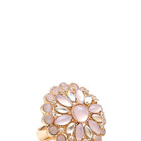 FOREVER 21 Faux Stone Cocktail Ring Gold/Pink