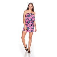 Juniors Poof! Floral Print Strapless Tube Top Romper