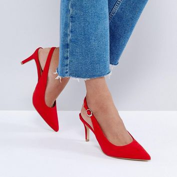 New Look Red Slingback Low Heel Shoe at asos.com