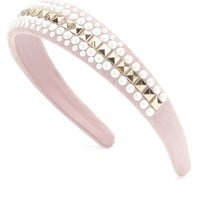 mytheresa.com - Studded suede hairband with faux-pearls - Luxury Fashion for Women / Designer clothing, shoes, bags