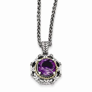 Sterling Silver w/14k Gold Antiqued Amethyst and Diamond Necklace