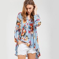 blu pepper - Floral Tunic With Crochet Inset Detailing - dusty blue