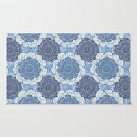 Lacy Blue & Navy Mandala Pattern  Area & Throw Rug by Perrin Le Feuvre