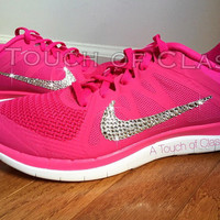 Women's Bling Nike Free 4.0 Running Jogging Training Shoes Customized With Swarovski Crystal Rhinestones Pink Nike Blinged Out