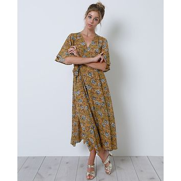 Dream State Wrap Dress - Mustard Print