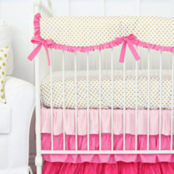Peggys Pink and Gold Ruffle Baby Bedding | 2 or 3 Piece Crib Set Blush and Gold Damask Crib Set