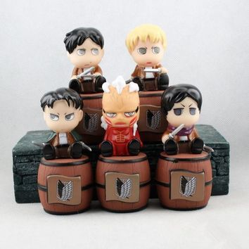 Cool Attack on Titan 5pcs Cute Anime  Brinquedos No  Levi Eren Mikasa Piggy Bank PVC Action Figure Juguetes Kids Toys AT_90_11