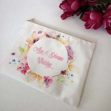 Watercolor makeup bag - Bridesmaid Emergency Kit makeup bag - Floral Custom Bag - Floral Bridesmaid Pouch - Custom Clutch/Personalized