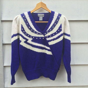 Vintage 80's FANTASTIC  1980s Electric Blue white sweater top Beaded angora metallic abstract sweater