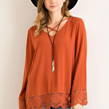 Lace Bottom Tunic Top - Rust