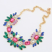 Shiny Summer Blossom Statement Necklace