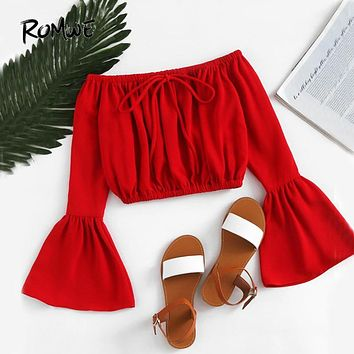 ROMWE Off Shoulder Crop Blouse Fluted Sleeve Red Tops 2017 Women Drawstring Summer Tops Fashion Cut Bow Tie Holiday Sexy Blouse