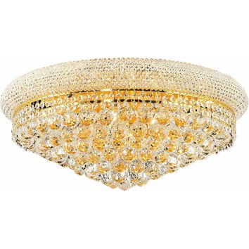 "Primo 24"" Diam Flush-Mount Light, Gold Finish, Clear Crystal, Elegant Cut"