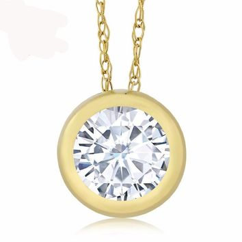 0.68 Ct Round White Created Moissanite 14K Yellow Gold Pendant With Chain