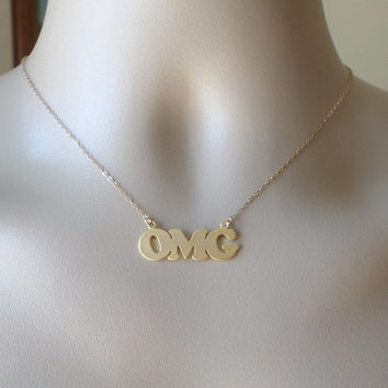 OMG Necklace - Gold Word Necklace - Gold OMG Word Necklace - Gold Filled and Gold Plated Brass Necklace - Mothers Day Gift
