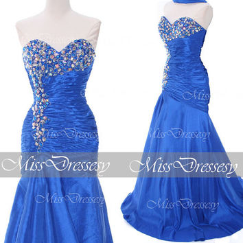 Mermaid Strapless Sweetheart with Crystal Teffeta Blue Prom Dresses, Wedding Party Dresses, Evening Dresses, Mermaid Prom Gown