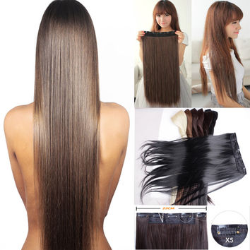 Long 24/26/30 inch 3/4 Full Head Clip in on Hair Extensions Thick 100% natural quality Free shipping