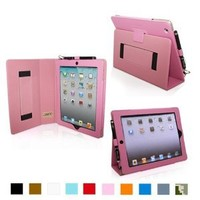 Snugg Leather Kick Stand Case for Apple iPad 2 - Candy Pink