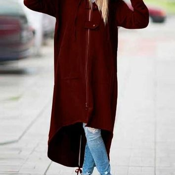 New Burgundy Irregular Zipper Pockets High-low Casual Hooded Cardigan Coat