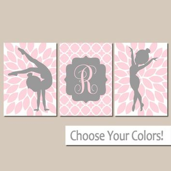 GYMNASTICS Wall Art, Girl Bedroom Wall Decor, Pink Gray, Personalized Girl Gift, Girl Nursery Decor, Set of 3, Canvas or Prints, Decor