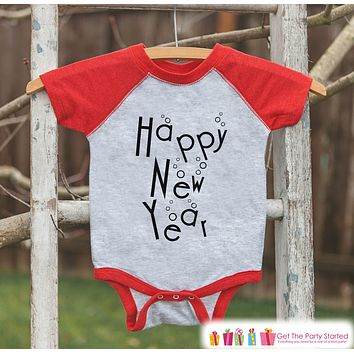 Kids New Year Shirts - Happy New Year - New Years Eve - Onepiece or Shirt - Infant, Toddler Red Baseball Tee - Champagne Bubbles