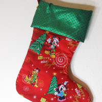 Mickey Mouse and Pluto , Christmas stocking, very cute,  quilted, fully lined