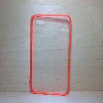 For Apple iPhone 6 Plus (5.5 inches) Orange Silicone Bumper and Clear Hard Acrylic Case