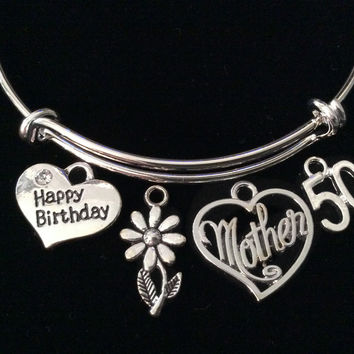 Mother Happy 50th Birthday Expandable Charm Bracelet Silver Adjustable Bangle Gift Mom