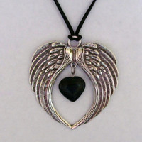 Oh that Black Heart of Mine Angel Wings with Natural Gemstone Heart Necklace
