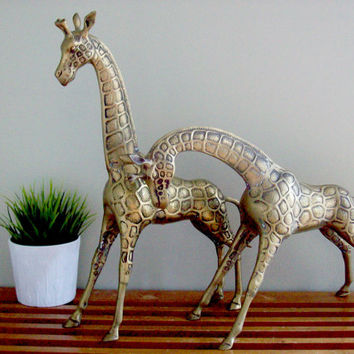 Extra Large Brass Giraffes, Pair of Statues, Figurines, Hollywood Regency, Vintage Decor