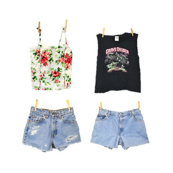 90s grunge Summer Festival Mystery Outfit SMALL cutoff shorts tank top shirt  t shirt by IndieClothCo
