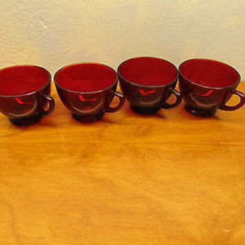VINTAGE SET OF FOUR RUBY RED PUNCH CUPS BY ANCHOR HOCKING EXCELLENT CONDITION