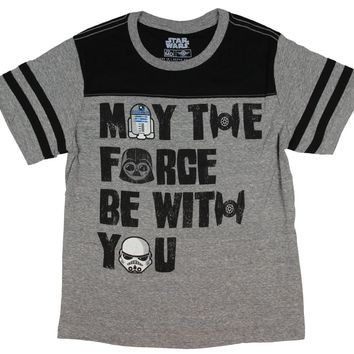 Star Wars Boys' May The Force Be With You Jersey Ringer T-shirt