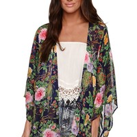 Cotton Candy Floral Chiffon Kimono - Womens Shirts - Blue -