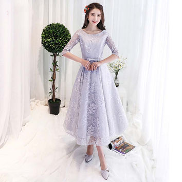 Half Sleeves Tea Length Cheap Evening Dresses Special Occasion Semi Formal Gown robe de soiree abendkleider