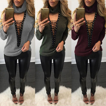 V-Neck Knit Strappy Long Sleeve Loose blouse top Top Sweater