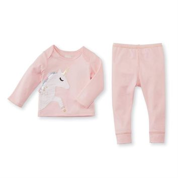 MUD PIE PINK UNICORN COTTON TWO-PIECE SET