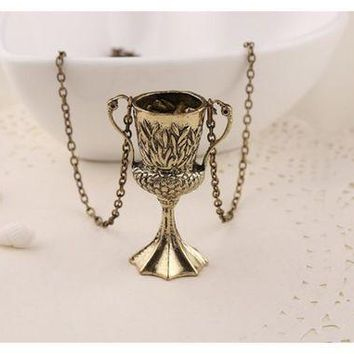 CREYONB Antique Bronze Horcrux Conversion Helga Pendant Necklace For Men Women