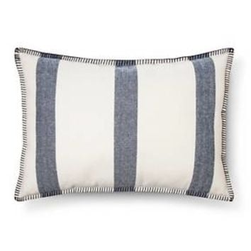 "Blue Wide Stripe Oblong Throw Pillow (14""x20"") - Threshold™"