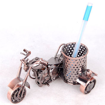 Harley motorcycle model Pen holder Creative Decoration Ornament Pen container Pencil vase for home decor Amazing Christmas gift