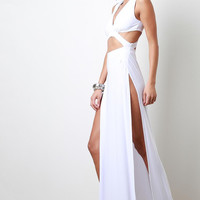 Double Slit Cut Out Maxi Dress Color: White, Size: L